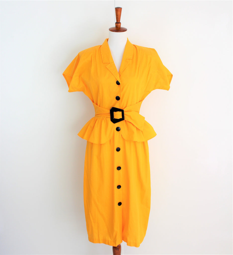 Vintage 1970's Bright Sunflower Yellow Peplum Day Dress