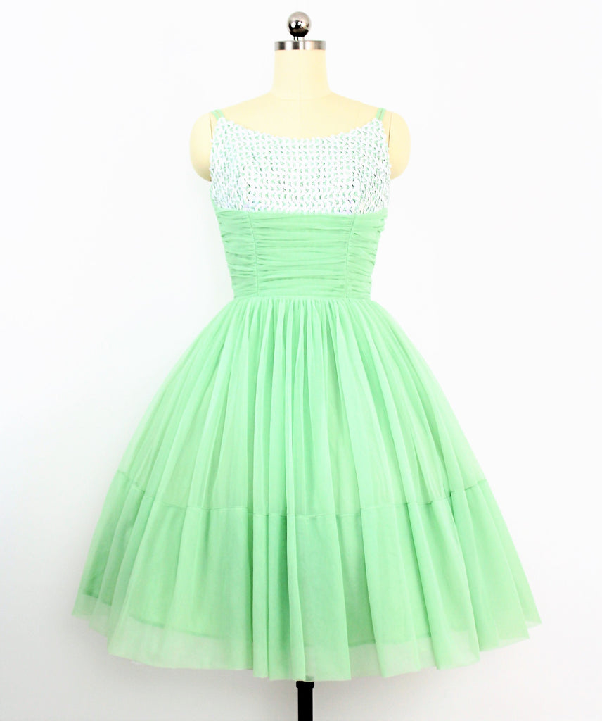 Vintage 1960's Mint Green Prom Dress W/ Sequined Bodice