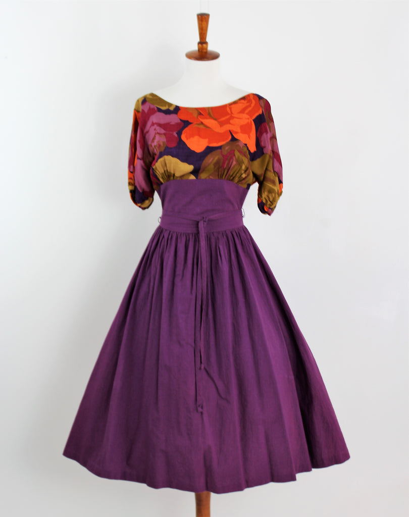 Vintage 1960s Vicky Vaughn Purple Vibrant Floral Boatneck Fit & Flare Tie House Dress