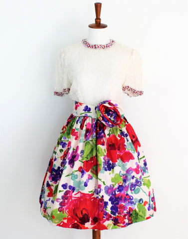 Vintage 1960's Victoria Royal Beaded Flower Dress