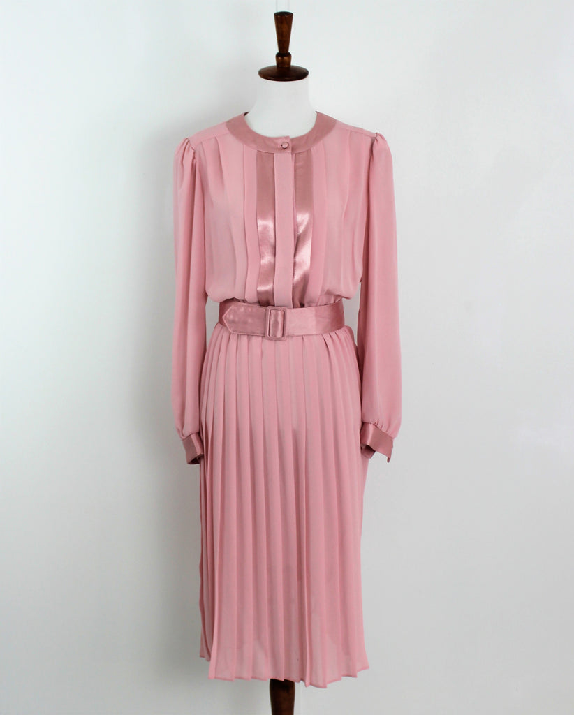 Vintage 1980's Pink Sheer Pleated Skirt Belted Long Sleeve Dress