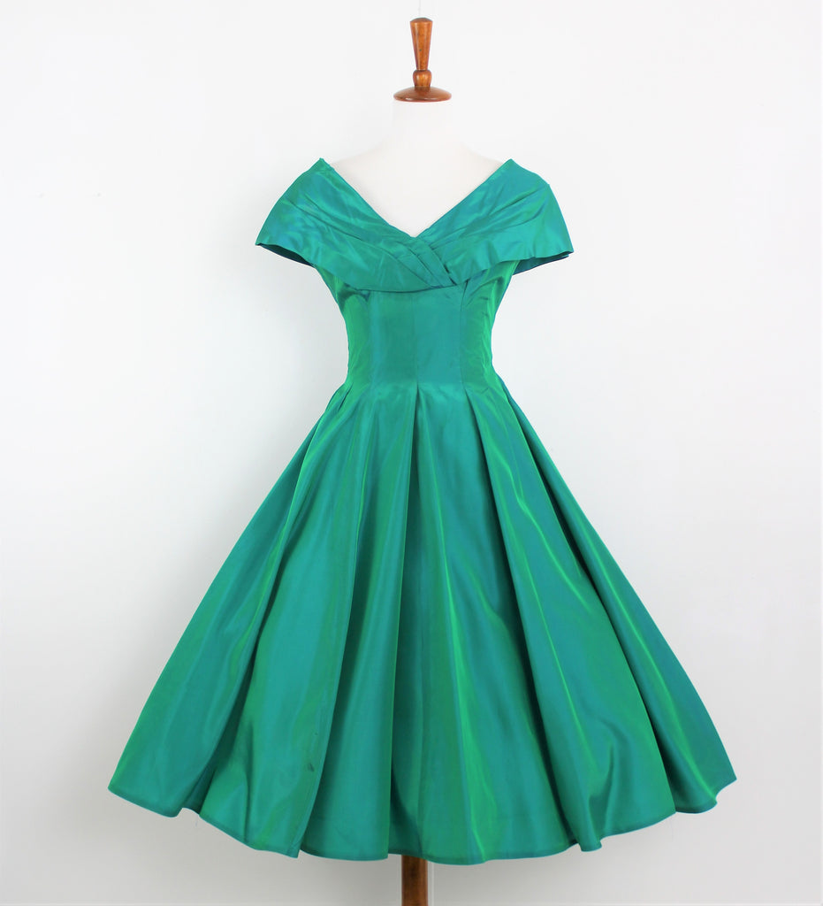 Vintage 1950's Iridescent Green Taffeta Gown
