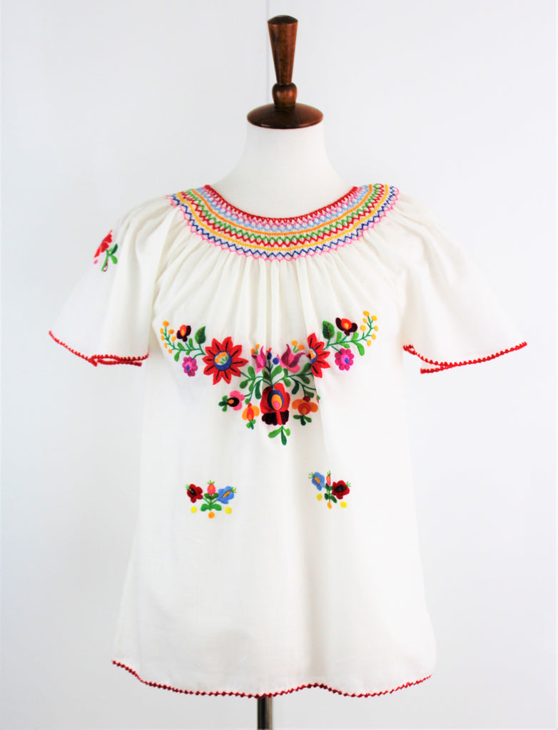 Vintage Hungarian MATYO Hand Embroidery Colorful Peasant Sheer Blouse
