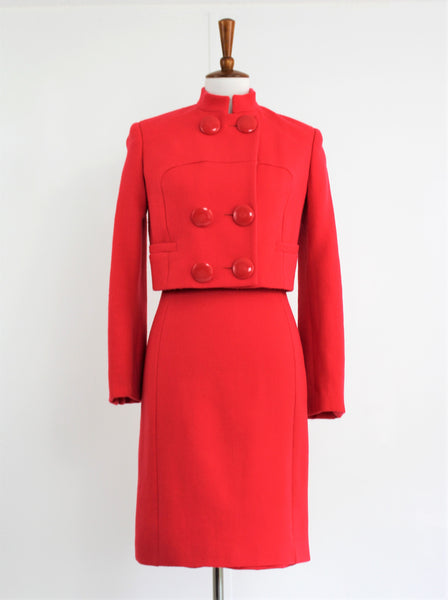 Vintage Gianni Versace Coral Red Wool / Silk Shift Dress with Bolero Jacket