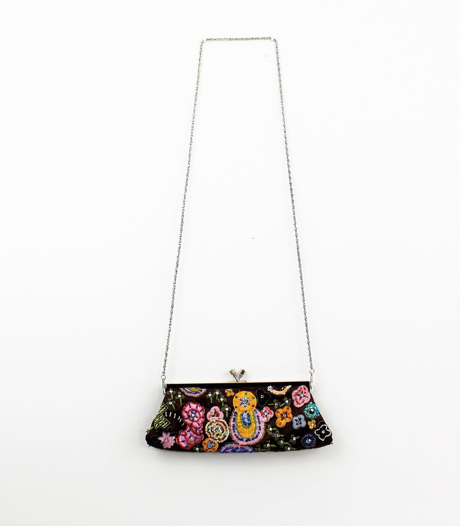 Jeweled and Beaded Evening Satin Clutch HandBag with Optional Handle