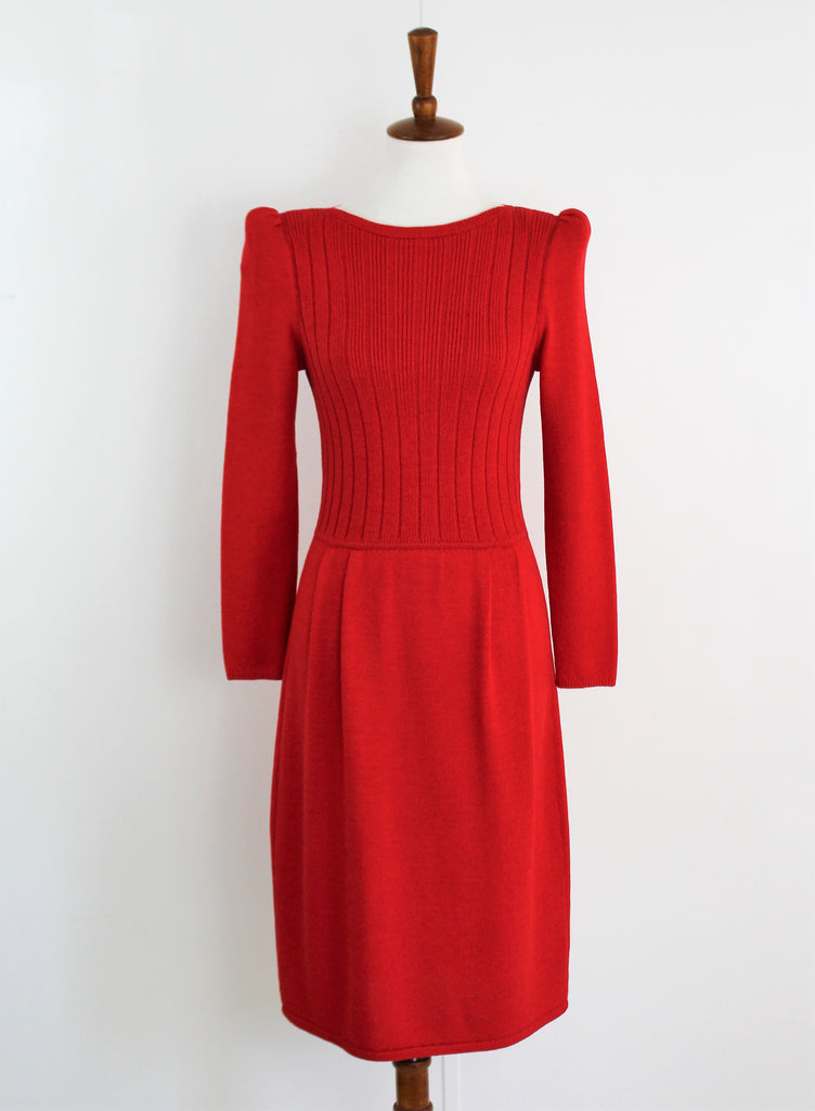 Vintage St. Johns Lipstick Red Knit Dress