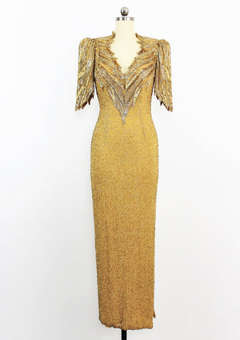 Vintage Lillie Rubin Heavily Beaded Sequin Embellished Silk Gown