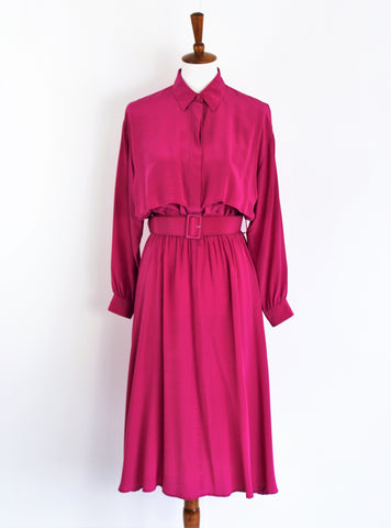 Vintage 1980's Soft & Light 100% Silk Magenta Secretary Dress