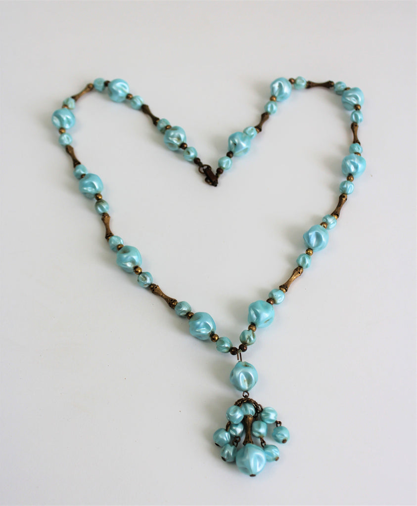 Vintage Art Deco Lucite Aquamarin And Brass Candy Style Necklace