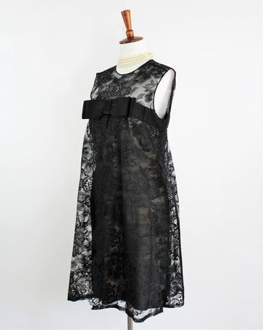 Vintage 1960's Pat Sandler Little Black Lace Dress