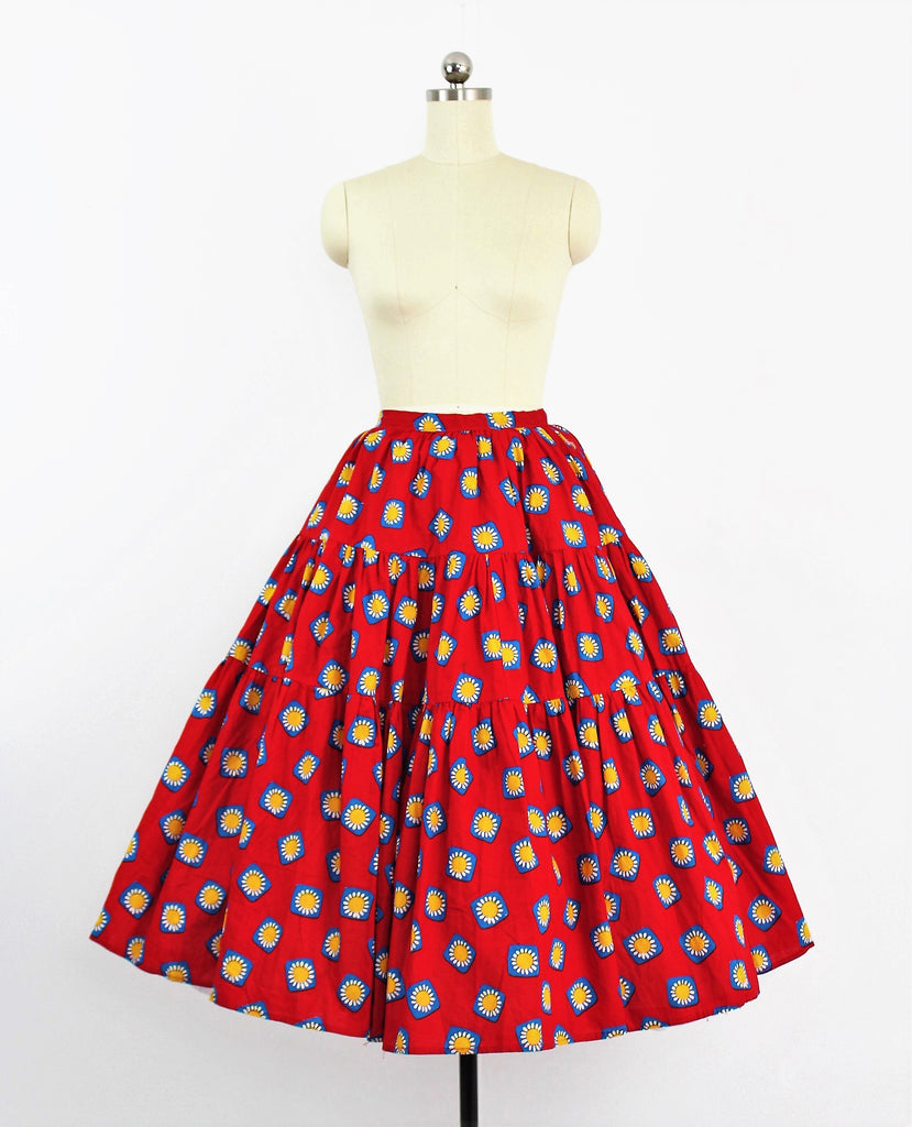 Vintage 1950's Novelty Print Full Circle Tiered Skirt Marguerite's in Blue