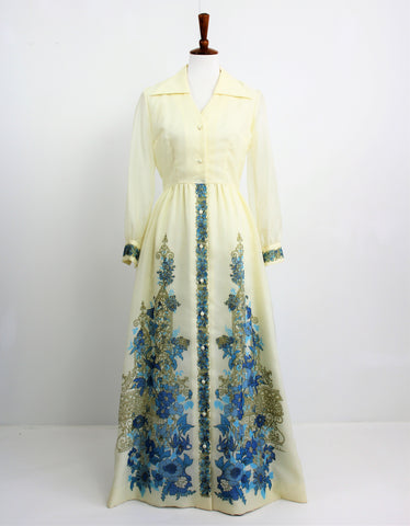 Vintage Late 70's Alfred Shaheen Boho Maxi Dress