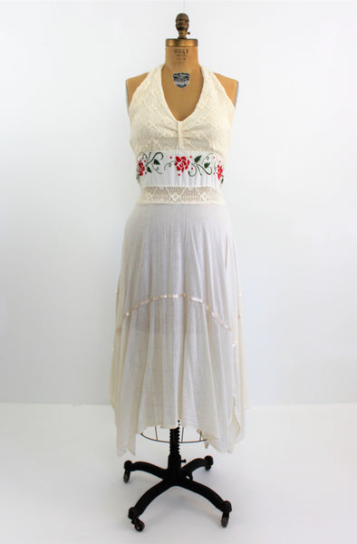 Vintage 1970's Ivory Crochet Mexican Boho Halter Dress