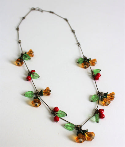 Vintage Czech Cherry And Yellow Flower Glass Bead Necklace Art Deco Style