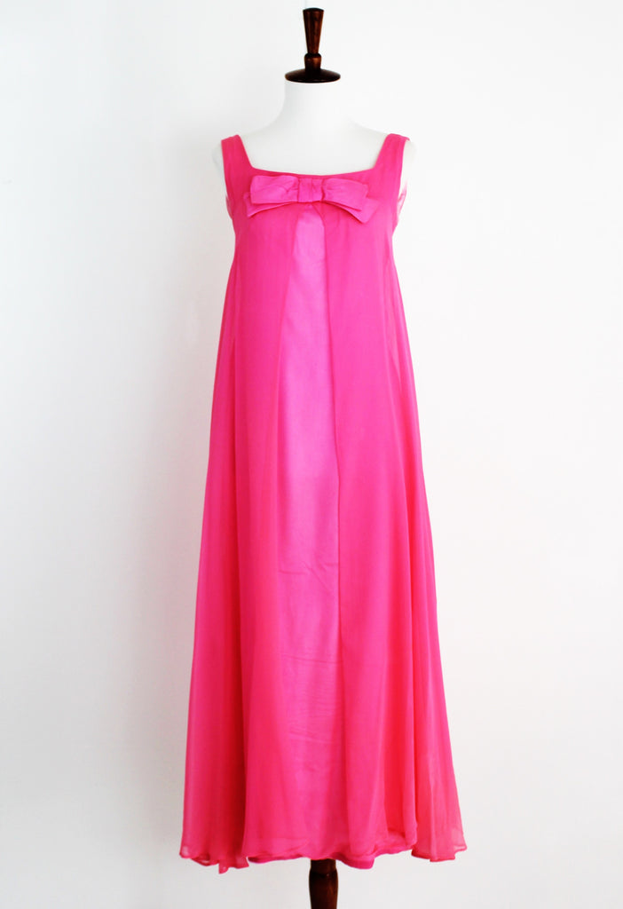 Vintage 1960's Hot Pink Chiffon Gown