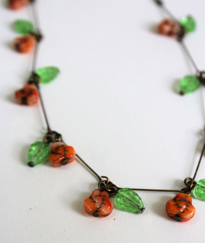 Vintage Czech Orange Flower Glass Bead Necklace