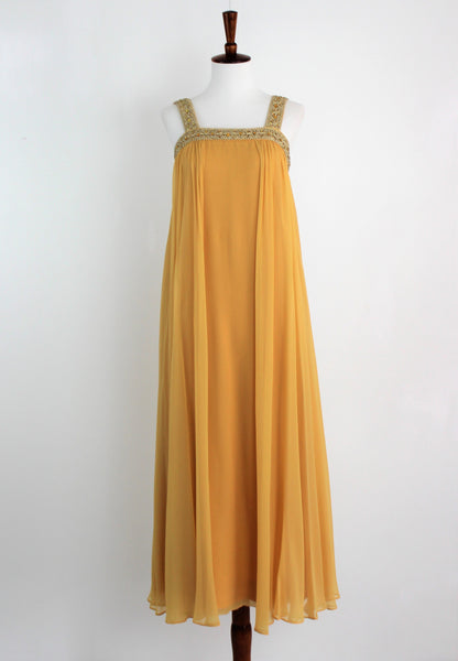 Vintage 1960's Golden Sleeveless Chiffon Cocktail Gown w/Beading