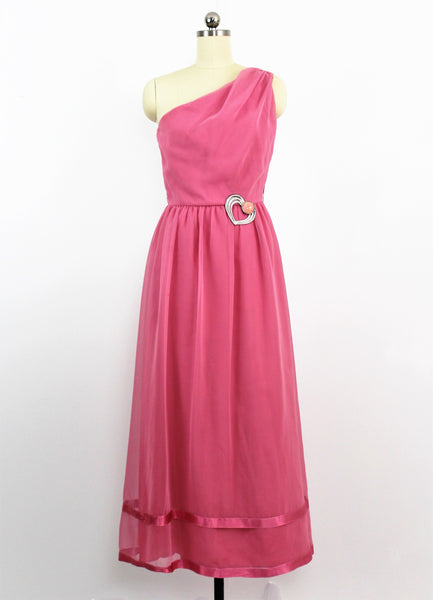 Vintage 1970's Dusty Rose Off Shoulder Cocktail Dress