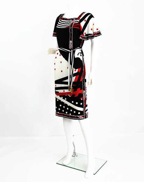 Vintage 1960s Leonard Studio Silk Black and Red Mixed Print Dress-Made in Italy