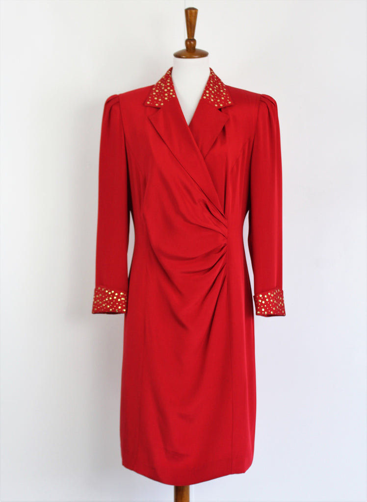 Vintage 1980's LOUIS FERAUD Lipstick Red Suit Dress With Golden Studs