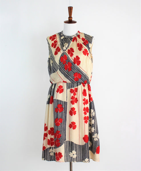 Vintage 1960's FLORAL Silk MISS BERGDORF By BERGDORF GOODMAN DRESS