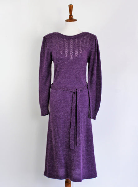 Vintage 1970's  Miss Joni of California Plum- Purple Midi Wool Dress
