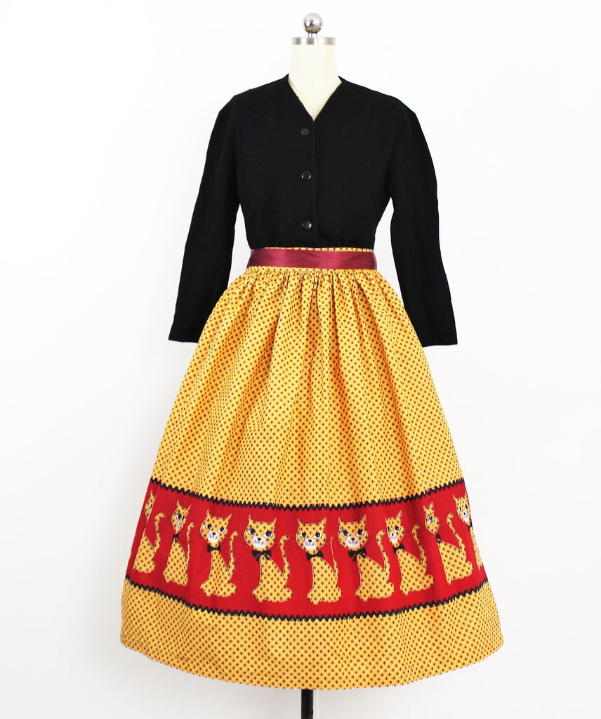 Vintage 1950's Novelty Border Print Calico Kitty / Cat Skirt