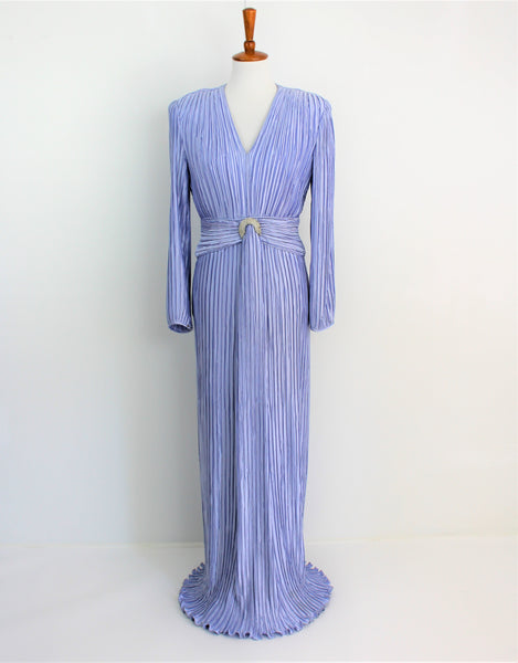 Vintage 1970's George F. Couture Fortuny Accordion Pleated Gown
