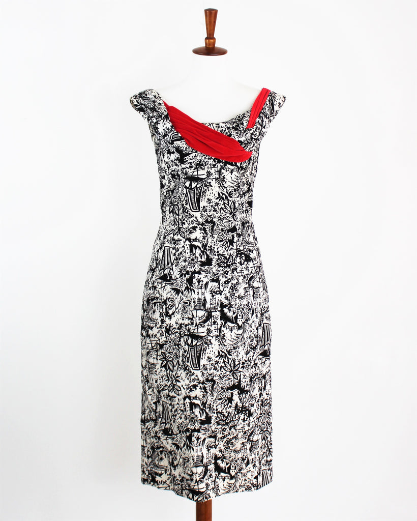 Vintage 1950's Ceil Chapman Wiggle dress black & White with red Satin Sash Drape