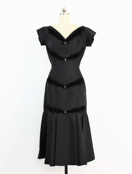 Vintage 1940's Franklin Original Satin & Black Velvet Applique Dress W/Rhinestones
