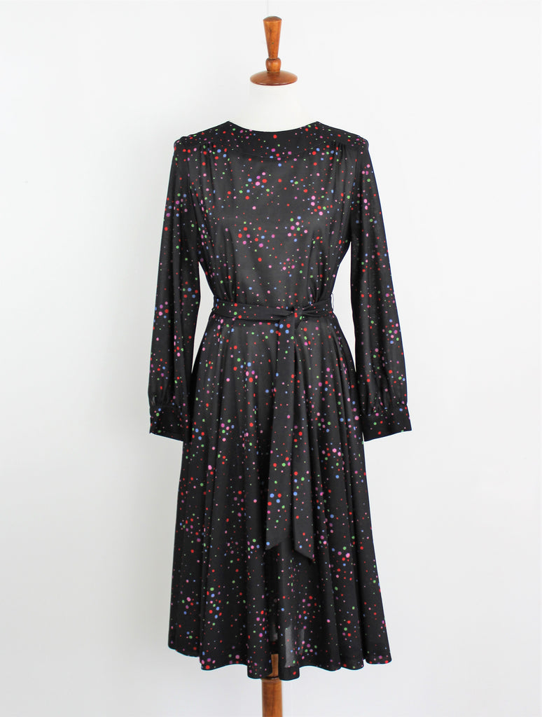 Vintage Confetti Print Black Swing Dress