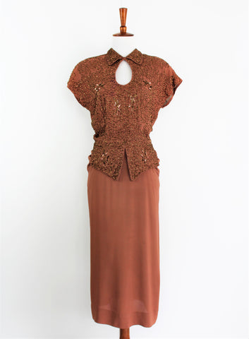Vintage Amazing 1930's Nude Copper Beaded Rayon Dress