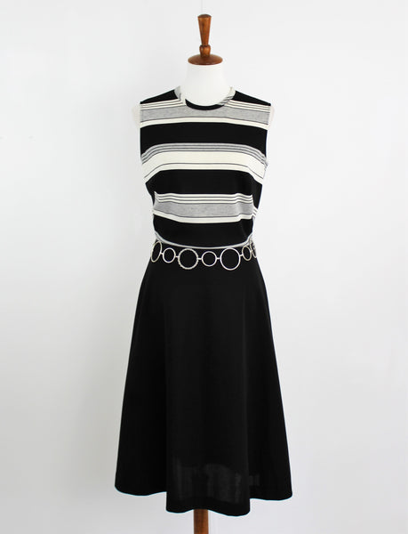 Vintage 1960's Black & White Sleeveless Mod Dress