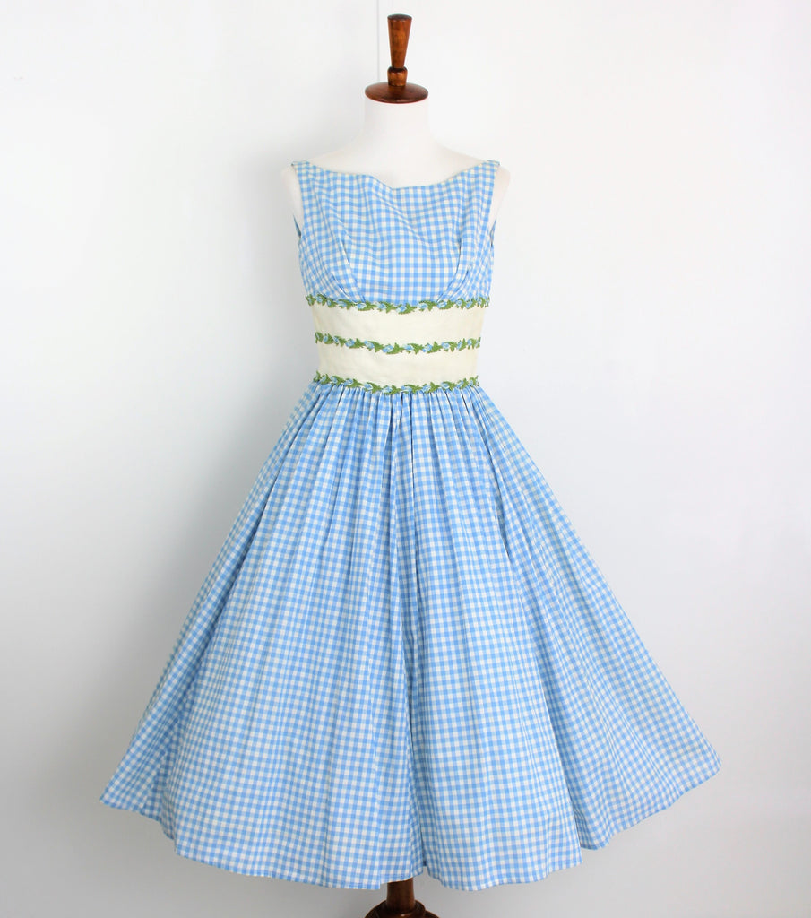 Vintage 1950's Betty Carol Blue Checked Sun Dress