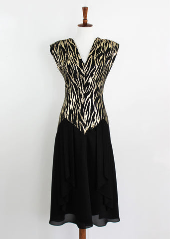 Vintage 1990's John Roberts Black & Gold Evening dress