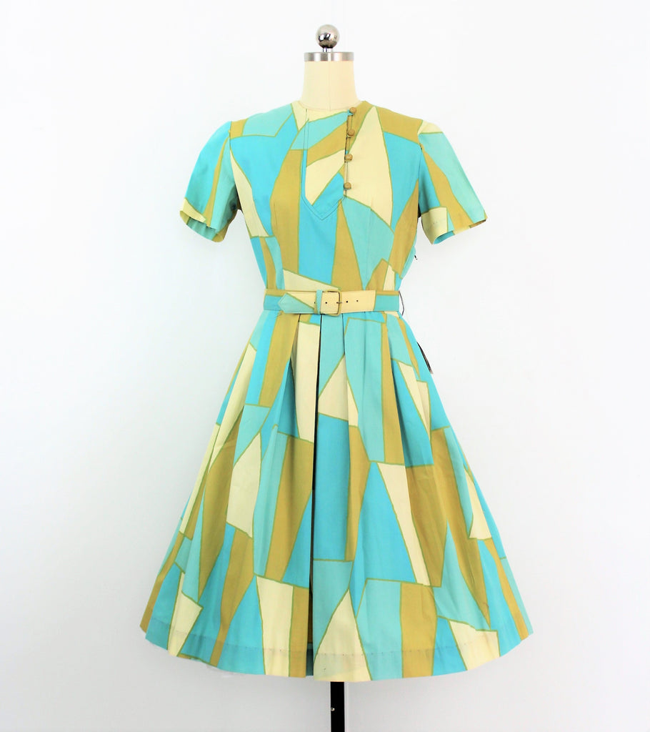 Vintage 1950's Rayon & Cotton Geometric Harlequin Print Dress /  Dead Stock
