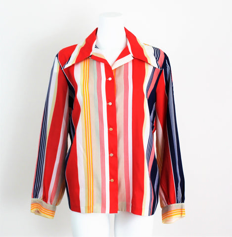 Vintage 1970's Striped Blouse W/Butterfly Collar