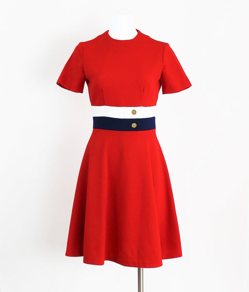 Vintage 1960's Dress Red White Blue Mod Shift Color Block