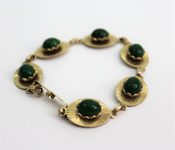 Vintage 1960's Medallion Bracelet W/Jade colored stones