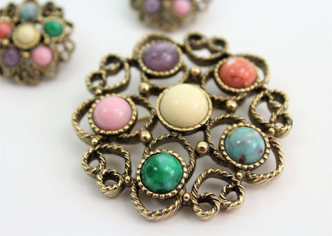 Vintage 1970's Sarah Coventry Earring Clips and Brooch W/Pastel Gemstones