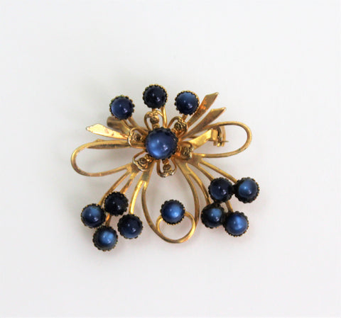Incredible 1950's Brooch Pin with blue stones