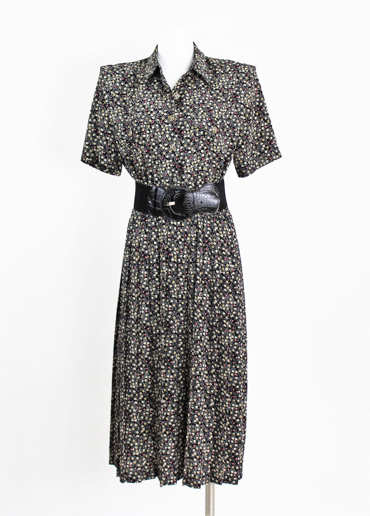 Vintage Leslie Fay Floral Pleated Day Dress 40's Style