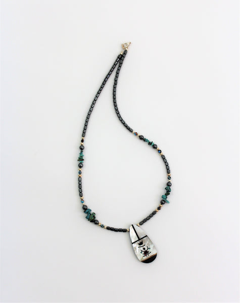 Traditional Navajo Kachina Necklace with Pendant W/ Hematite and Turquoise Mother of Pearl Pendant