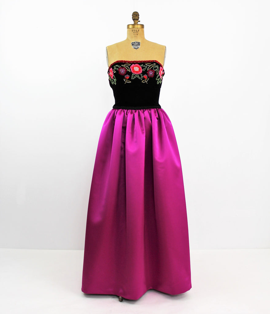 Vintage 1960's Victoria Royal Embroidered Gown Dress Magenta Skirt W/ Velvet Beaded Bodice