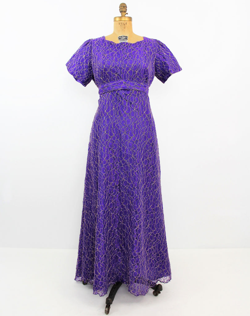 Vintage 1970's Purple Maxi Dress W/ Empire Waist And Gold Lurex Embroidery