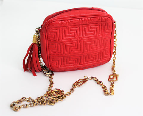 Vintage 1980's L.G. Simone Lipstick Red Leather Bag/Shoulder Purse