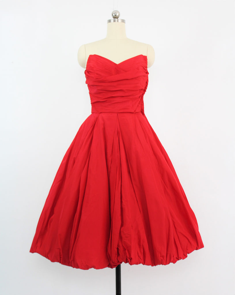 Vintage 1950's Will Steinman Original Red Silk Taffeta Bubble Strapless Ruched Bodice Party Prom Dress