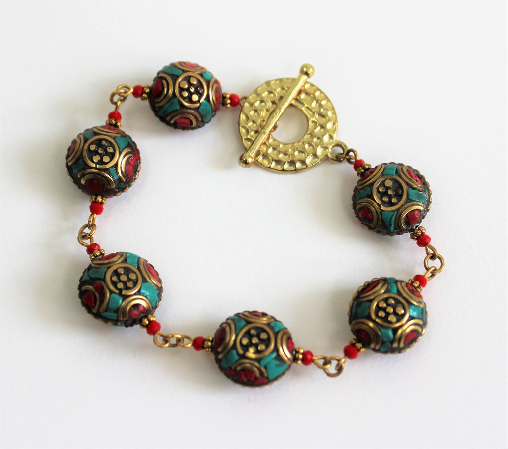 Artisan Bracelet & Matching Earings W/Colorful Maruti Beads and Teal Four Strand Closure