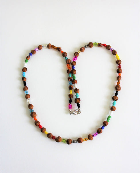 Traditional Navajo Juniper berry necklace with colorful beads