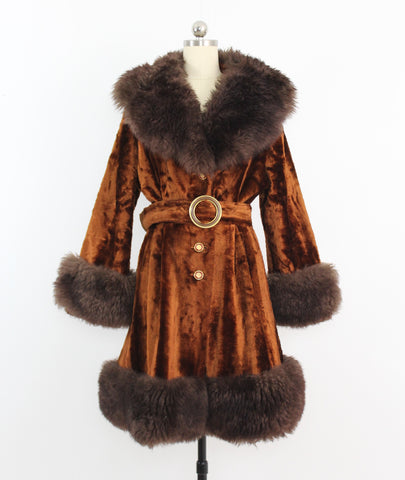 Vintage 1970's Faux Fur Coat Big Collar Burnt Velvet Orange Brown Boho W/ Belt By Montgomery Ward